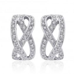 1.00 Carat Diamond Crisscross Classic J-Hoop Earrings 14K White Gold