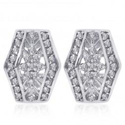 0.75 Carat Diamond Cluster J-Hoop Earrings 14K White Gold