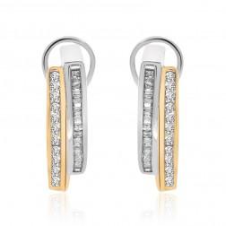 0.50 Carat Diamond J-Hoop Earrings 10K Two Tone Gold