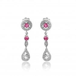 0.90 Carat Diamond Antique Style Rosecut Drop Earrings Tourmaline 14K White Gold