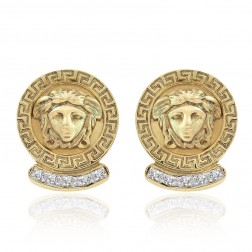 0.35 Carat Diamond Vintage Medusa Button Earrings 14K Yellow Gold