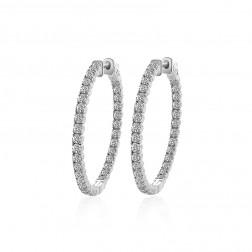 3.25 Carat Eternity Inside Out Diamond Hoop Earrings 14K White Gold