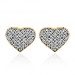 0.75 Carat Heart Shaped Diamond Earrings 10K Yellow Gold