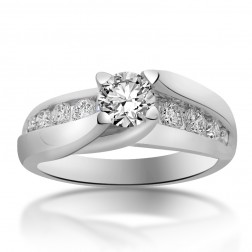 1.00 Carat H-VS2 Natural Round Cut Diamond Engagement Ring 18K White Gold