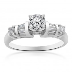 0.75 Carat SI1-G Natural Round Cut Diamond Engagement Ring Platinum