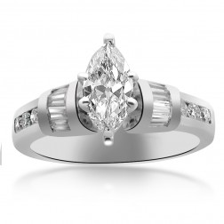1.13 Carat F-SI2 Marquise Cut Diamond Engagement Ring Platinum