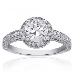 1.90 Carat F-VS2 Round Diamond Micro Pave Halo Engagement Ring 18K White Gold