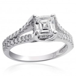 1.35 Carat H-VS2 Asscher Cut Diamond Engagement Ring 14K White Gold