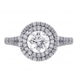 1.50ct Round Cut Diamond Engagement Ring Double Halo Split Shank Platinum