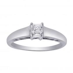 0.07 Carat Princess Cut Diamond Engagement Ring 14K White Gold