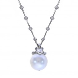 Paul Morelli South Sea Pearl on 18K White Gold Diamond Necklace
