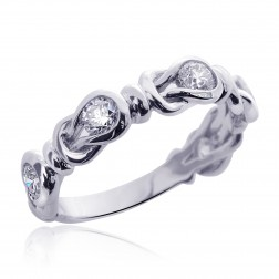 14K Round Brilliant Cut Diamond Infinity Love Knot Wedding Ring 0.75 ctw