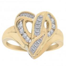 0.35 Carat Round Baguette Cut Diamond Heart Cluster Ring 14K Yellow Gold