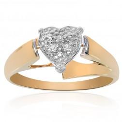 0.03 Carat Round Cut Diamond Heart Ring 10K Yellow Gold
