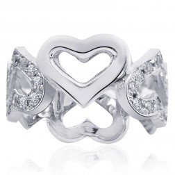 0.60 Carat Pave Set Diamond Heart Shaped Eternity Band 14K White gold