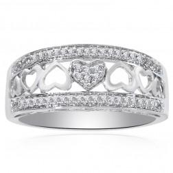 0.25 Carat Round Cut Diamond Heart Cut-Out Ring 14K White Gold