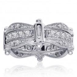 1.00 Carat Round Cut Diamond Antique Style Eternity Band 14K White Gold