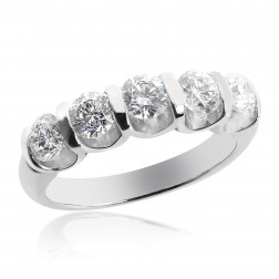 Platinum Ladies 1.45 tcw Round Brilliant 5 Stone Diamond Wedding Ring