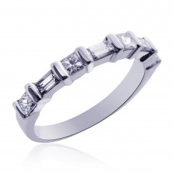 Platinum Ladies Princess & Baguette Diamond Wedding Band 0.60 tcw
