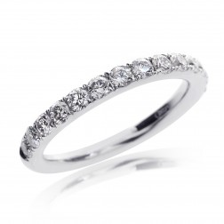 18K White Gold Round Brilliant Diamond Wedding Band 0.85 tcw, G, VS-2