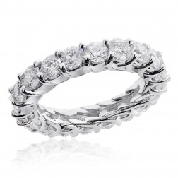 4.00 Carat 14-k Round Brilliant Diamond Eternity Wedding Ring