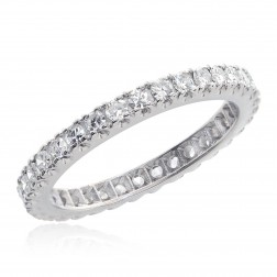 0.75 Carat H VS-2 Antique Platinum Round Brilliant Cut Diamond Eternity Band