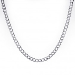 "Mens 14K White Gold Cuban/Curb Solid Chain 20"" Inches 24.8 Grams"