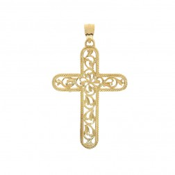 14K Yellow Gold Art Deco Cross Pendant