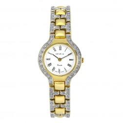 Genéve 14K Yellow Gold with Pave Set Diamonds Ladies Watch
