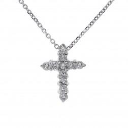 0.40 Carat Children's Round Cut Diamond Cross Pendant Necklace 14K White Gold