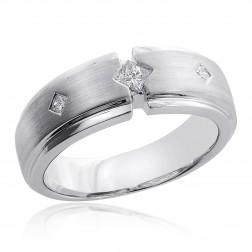 0.25 Carat Mens Princess Cut Diamond Wedding Band 14K White Gold