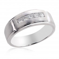 0.70 Carat Mens Princess Cut Diamond Wedding Band 14k White Gold