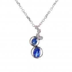 Sapphire & Diamond Pendant Necklace 14K White Gold