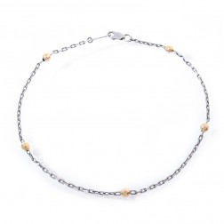 14K White Gold Ankle Bracelet with Yellow Gold Balls