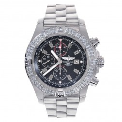 Breitling A13370 Super Avenger Aeromarine Black Dial with Diamond Bezel Stainless Steel Watch