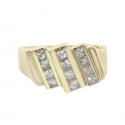 1.20 Carat Princess Cut Channel Setting Diamonds Mens Ring 14K Yellow Gold