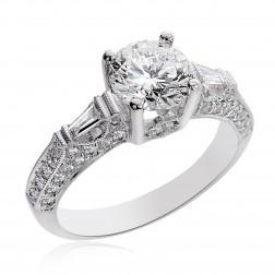 2.28 Carat I-SI1 Natural Round Cut Diamond Engagement Ring 14K White Gold