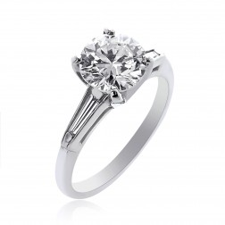 2.03 Carat I-SI2 Natural Round Brilliant Cut Diamond Engagement Ring Platinum