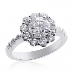 2.23 Carat G-SI1 Natural Round Diamond Halo Engagement Ring 18K White Gold