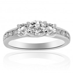 1.00 Carat G-SI1 Round Cut Diamond Three Stone Engagement Ring 14K White Gold
