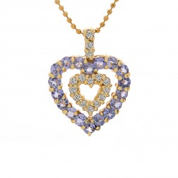 0.75 Carat Tanzanite Diamond Heart Pendant 14K Yellow Gold