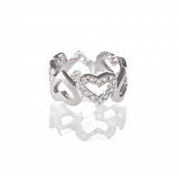 0.60 Carat Interlocking Micro Pave Hearts Diamond Ring 14K White Gold