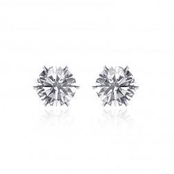 0.55 Carat Diamond Stud Earrings 14K White Gold Martini Setting