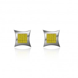 0.25 Carat Fancy Yellow Princess Cut Diamond Earrings 14K White Gold