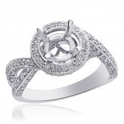 1.25 Carat Diamond Engagement Ring 18K White Gold Setting