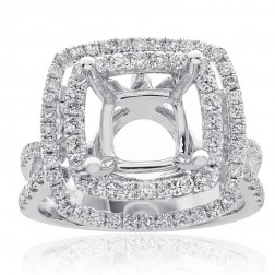 1.00 Carat Diamond Engagement Ring 18K White Gold Mount Setting