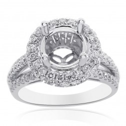 1.30 Carat Diamond Engagement Ring 18K White Gold Setting