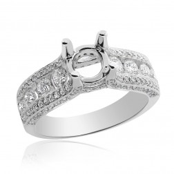 1.00 Carat Diamond Engagement Ring 14K White Gold Mount Setting