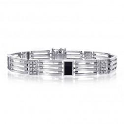 0.65 Carat Mens Diamond Onyx Bracelet 14K White Gold