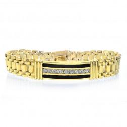 1.50 Carat Mens Diamond Onyx Bracelet 14K Yellow Gold